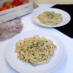 Kremowe spaghetti porowo – orzechowe (wegańskie)