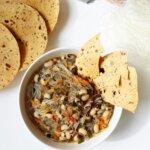 Zupa z fasolą czarne oczko i makaronem sojowym